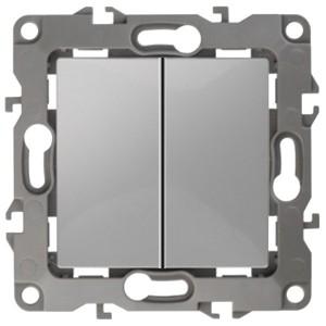 Выключатель двойной 10АХ-250В IP20 без лапок Эра 12, алюминий 12-1004-03