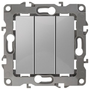 Выключатель тройной 10АХ-250В IP20 Эра 12, алюминий 12-1107-03