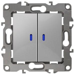 Выключатель двойной с подсветкой 10АХ-250В IP20 Эра 12, алюминий 12-1105-03
