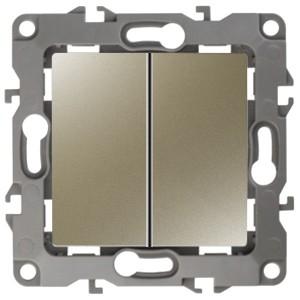 Выключатель двойной 10АХ-250В IP20 без лапок Эра 12, шампань 12-1004-04