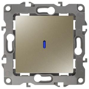 Выключатель с подсветкой 10АХ-250В IP20 Эра 12, шампань 12-1102-04