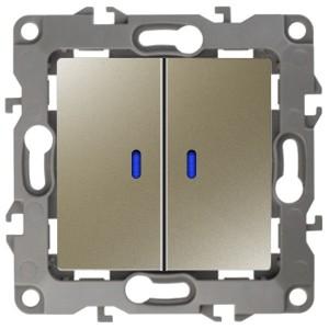 Выключатель двойной с подсветкой 10АХ-250В IP20 Эра 12, шампань 12-1105-04