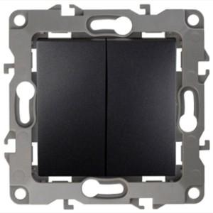 Выключатель двойной 10АХ-250В IP20 без лапок Эра 12, антрацит 12-1004-05