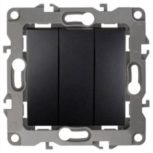 Выключатель тройной 10АХ-250В IP20 Эра 12, антрацит 12-1107-05