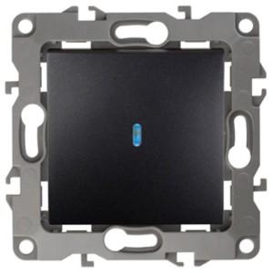 Выключатель с подсветкой 10АХ-250В IP20 Эра 12, антрацит 12-1102-05