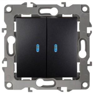 Выключатель двойной с подсветкой 10АХ-250В IP20 Эра 12, антрацит 12-1105-05