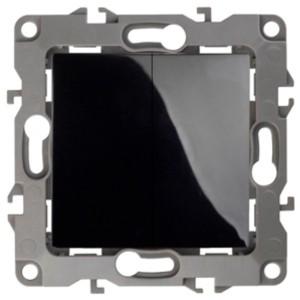 Выключатель двойной 10АХ-250В IP20 без лапок Эра 12, чёрный 12-1004-06