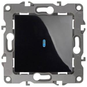 Выключатель с подсветкой 10АХ-250В IP20 Эра 12, чёрный 12-1102-06