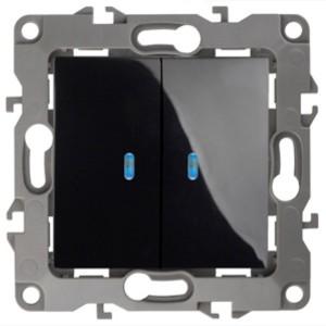 Выключатель двойной с подсветкой 10АХ-250В IP20 Эра 12, чёрный 12-1105-06