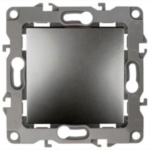 Выключатель 10АХ-250В IP20 без лапок Эра 12, графит 12-1001-12