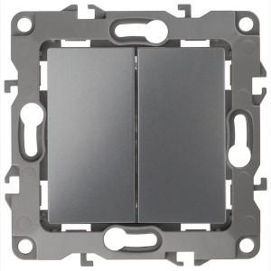 Выключатель двойной 10АХ-250В IP20 без лапок Эра 12, графит 12-1004-12