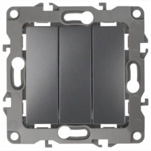 Выключатель тройной 10АХ-250В IP20 Эра 12, графит 12-1107-12