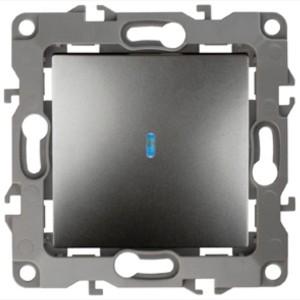 Выключатель с подсветкой 10АХ-250В IP20 Эра 12, графит 12-1102-12
