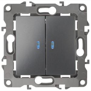 Выключатель двойной с подсветкой 10АХ-250В IP20 Эра 12, графит 12-1105-12