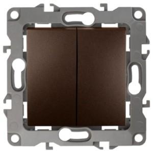 Выключатель двойной 10АХ-250В IP20 без лапок Эра 12, бронза 12-1004-13