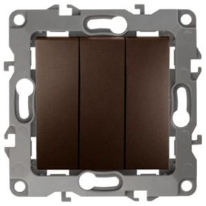 Выключатель тройной 10АХ-250В IP20 Эра 12, бронза 12-1107-13