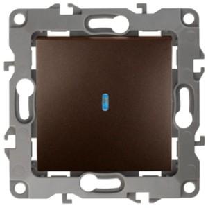Выключатель с подсветкой 10АХ-250В IP20 Эра 12, бронза 12-1102-13