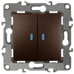 Выключатель двойной с подсветкой 10АХ-250В IP20 Эра 12, бронза 12-1105-13