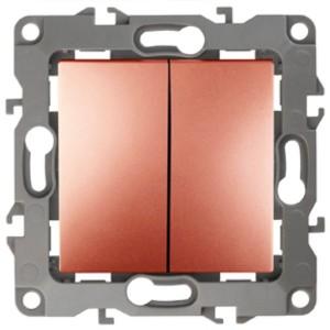 Выключатель двойной 10АХ-250В IP20 без лапок Эра 12, медь 12-1004-14