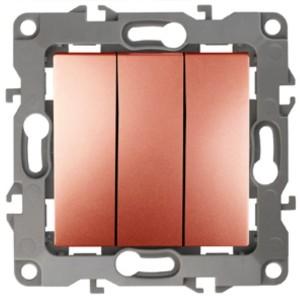 Выключатель тройной 10АХ-250В IP20 Эра 12, медь 12-1107-14
