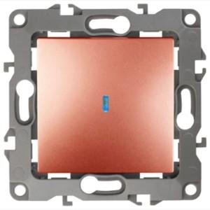 Выключатель с подсветкой 10АХ-250В IP20 Эра 12, медь 12-1102-14