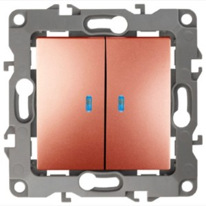Выключатель двойной с подсветкой 10АХ-250В IP20 Эра 12, медь 12-1105-14