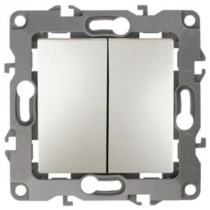 Выключатель двойной 10АХ-250В IP20 без лапок Эра 12, перламутр 12-1004-15
