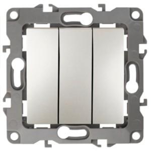 Выключатель тройной 10АХ-250В IP20 Эра 12, перламутр 12-1107-15