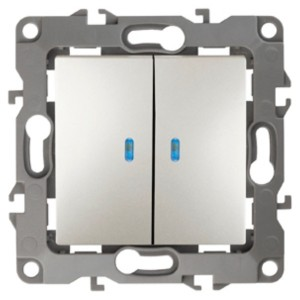 Выключатель двойной с подсветкой 10АХ-250В IP20 Эра 12, перламутр 12-1105-15