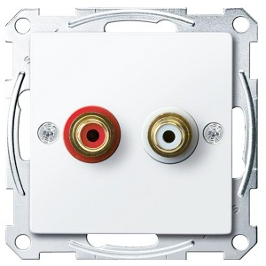 Аудиорозетка с накладкой и двумя гнездами тюльпан Merten System M активный белый