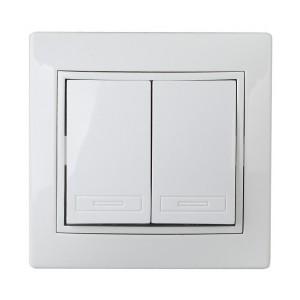 Выключатель двухклавишный 10А 250В  IP20 Intro Plano, белый 1-104-01