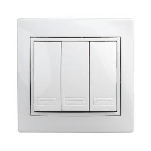 Выключатель трехклавишный 10А 250В  IP20 Intro Plano, белый 1-106-01
