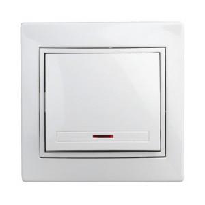 Выключатель с подсветкой 10А 250В  IP20 Intro Plano, белый 1-102-01