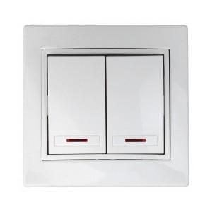 Выключатель двухклавишный с подсветкой 10А 250В  IP20 Intro Plano, белый 1-105-01