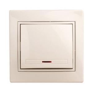 Выключатель с подсветкой 10А 250В  IP20 Intro Plano, слоновая кость 1-102-02 (бежевый)