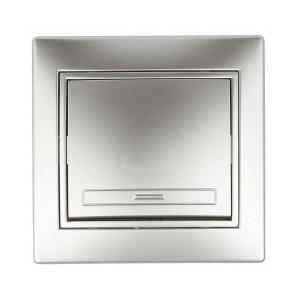 Выключатель 10А 250В  IP20 Intro Plano, алюминий 1-101-03
