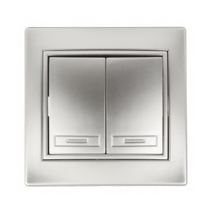Выключатель двухклавишный 10А 250В  IP20 Intro Plano, алюминий 1-104-03