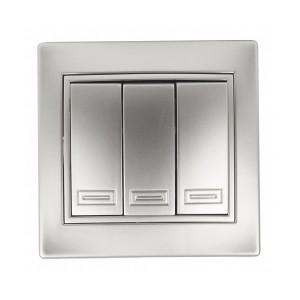 Выключатель трехклавишный 10А 250В  IP20 Intro Plano, алюминий 1-106-03