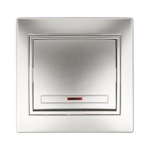 Выключатель с подсветкой 10А 250В  IP20 Intro Plano, алюминий 1-102-03