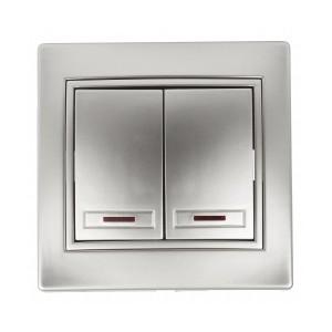 Выключатель двухклавишный с подсветкой 10А 250В  IP20 Intro Plano, алюминий 1-105-03
