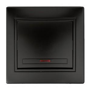 Выключатель с подсветкой 10А 250В  IP20 Intro Plano, антрацит 1-102-05