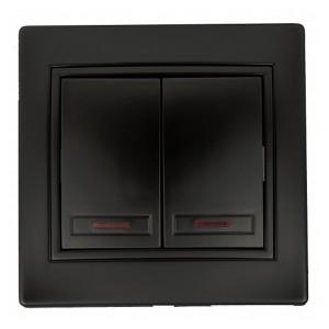 Выключатель двухклавишный с подсветкой 10А 250В  IP20 Intro Plano, антрацит 1-105-05