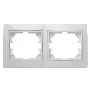 Рамка на 2 поста горизонтальная Intro Plano, белый 1-502-01
