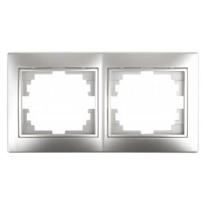 Рамка на 2 поста горизонтальная Intro Plano, алюминий 1-502-03