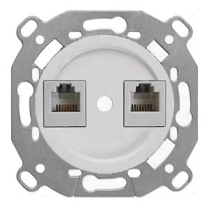 Механизм с накладкой розетки 2хRJ45 кат.5е  Bironi Шедель, пластик белый