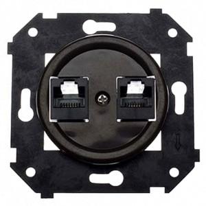 Механизм с накладкой розетки 2хRJ45 кат.5е  Bironi Шедель, пластик коричневый