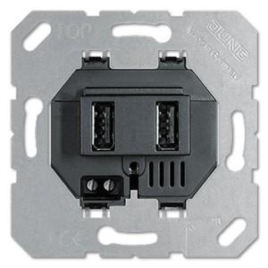 Зарядное устройство для  USB тип А и USB тип С макс.3000 мА Jung черный механизм
