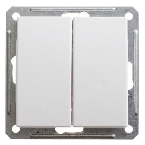 Двухклавишный переключатель 10А механизм SE W59, белый