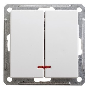 Двухклавишный выключатель с подсветкой 10А механизм SE W59, белый