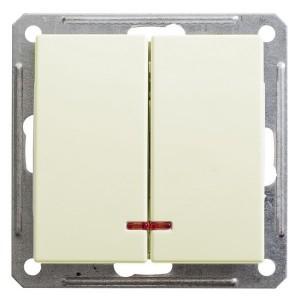 Двухклавишный выключатель с подсветкой 10А механизм SE W59, слоновая кость